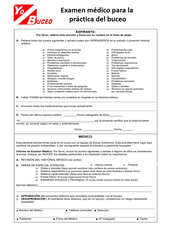 Examen Médico para la práctica del Buceo